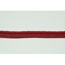 Sznurek bawełniany bordowy z taśmą o średnicy 6mm