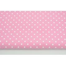 Dzianina, dresówka pętelkowa w białe kropki na różowym tle