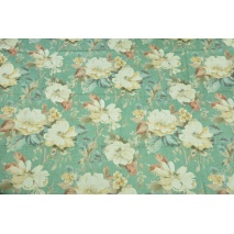 Decorative fabric, large cream flowers on a green background 195g/m2