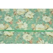 Tkanina dekoracyjna, duże kremowe kwiaty na zielonym tle 195g/m2