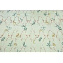 Tkanina dekoracyjna, brudnoróżowe gałęzie na jasnym lnianym tle 195g/m2