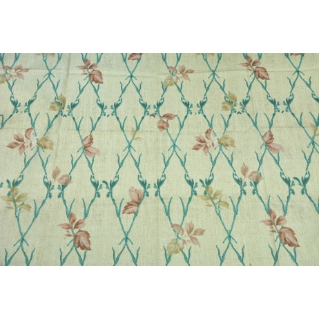 Decorative fabric, turquoise branches on a linen background 195g/m2