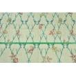 Tkanina dekoracyjna, turkusowe gałęzie na lnianym tle 195g/m2