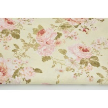 Decorative fabric, english roses on a cream background 187g/m2