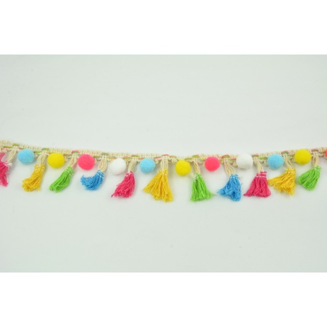 Ribbon with pompons and fringes 45mm, multicolor