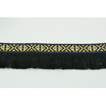 Decorative ribbon with fringes, ethnic pattern black