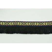 Tasiemka ozdobna z frędzelkami, wzór etniczny czarna