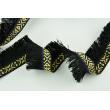 Decorative ribbon with fringes, ethnic pattern black