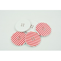 Wooden button with red stripes