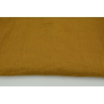 100% plain linen in a tobacco brown color, softened