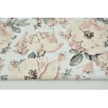 Bawełna 100% duże brudnoróżowe kwiaty na białym tle G