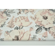 Cotton 100% large dirty pink flowers on a white background G