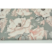 Cotton 100% large dirty pink flowers on a dark gray background G