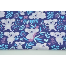 Cotton 100% koala bears on a navy-purple background