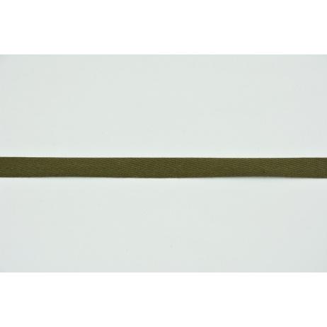 Cotton ribbon herringbone khaki 10mm