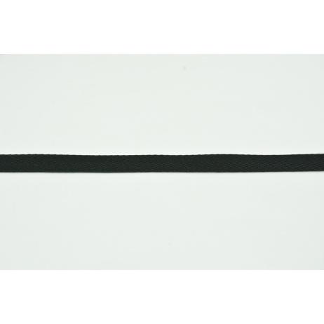 Cotton ribbon herringbone black 10mm