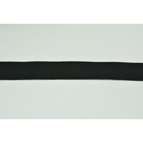Cotton ribbon herringbone black 25mm