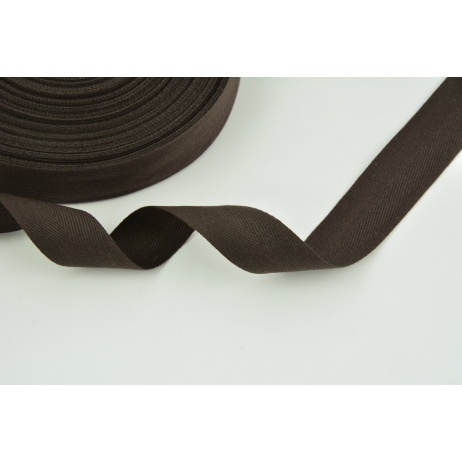 Cotton ribbon herringbone dark brown 25mm