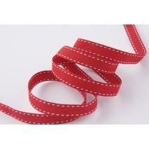 Tasiemka rypsowa czerwona przeszywana 10mm x 1m