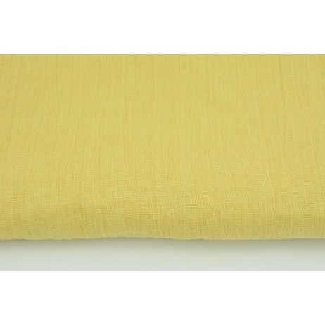 100% plain linen in a light mustard color, softened 145g/m2