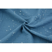 Double gauze 100% cotton silver mini stars on a dark blue background
