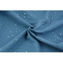 Muślin bawełniany, ciemny niebieski w srebrne mini gwiazdki