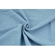 Double gauze 100% cotton silver mini stars on a blue background