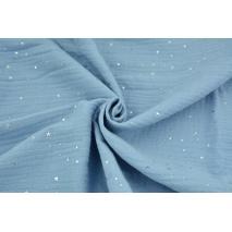 Muślin bawełniany, niebieski w srebrne mini gwiazdki