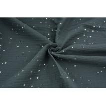 Double gauze 100% cotton silver mini stars on a steel background