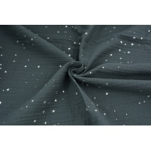 Muślin bawełniany, stalowy w srebrne mini gwiazdki