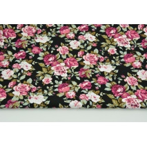 Cotton 100% burgundy flowers on a black background, poplin