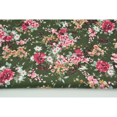 Cotton 100% flowers on bottled green, poplin