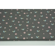 Cotton 100% birds, flowers on gray-brown background, poplin