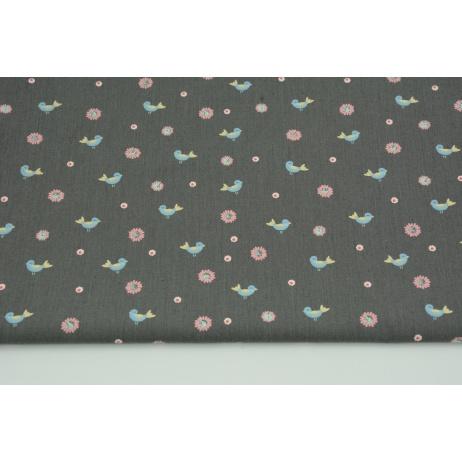 Cotton 100% birds, flowers on gray-brown background, poplin