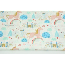 Cotton 100% castles, unicorns on white, poplin