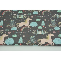 Cotton 100% castles, unicorns on gray-brown background, poplin