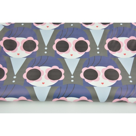 Tkanina przeciwdeszczowa, buźki różowo- granatowe