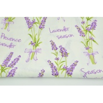 Cotton 100% bouquets of lavender, inscriptions on a cream background