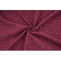 Double gauze 100% cotton golden mini dots on a burgundy background