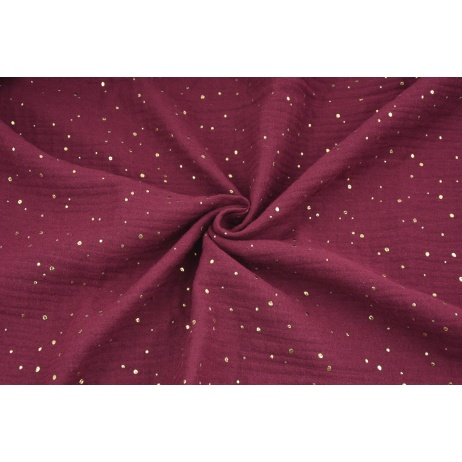 Double gauze 100% cotton golden mini dots on a burgundy background