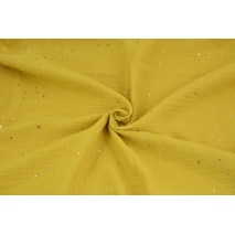 Double gauze 100% cotton golden mini stars on a mustard background