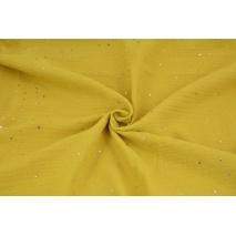 Muślin bawełniany, musztardowy w złote mini gwiazdki