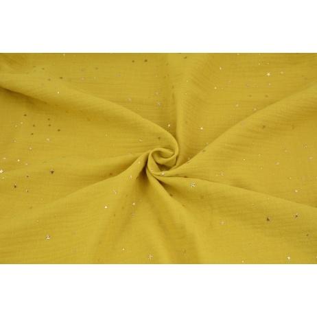 Double gauze 100% cotton golden mini stars on a mustard background