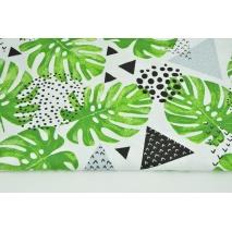 Bawełna 100% zielone liście monstery, trójkąty na białym tle
