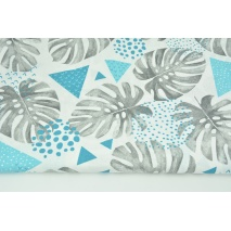 Cotton 100% gray monstera leaves, triangles on a white background