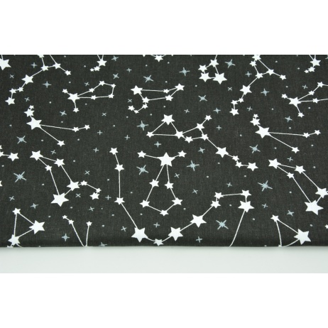 Cotton 100% white constellations on a black background