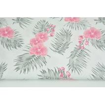 Bawełna 100% różowe storczyki na białym tle