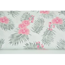 Cotton 100% pink orchids on a white background