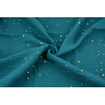 Double gauze 100% cotton golden mini stars on a petrol background