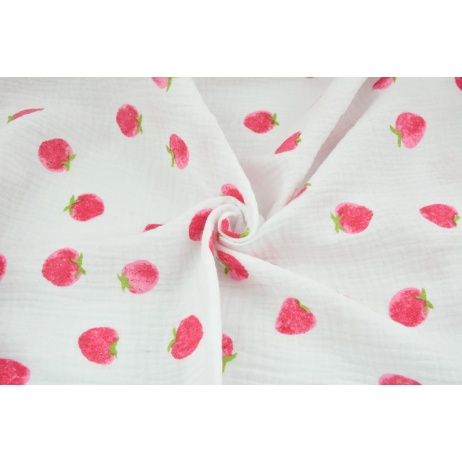 Double gauze 100% cotton strawberries on a white background